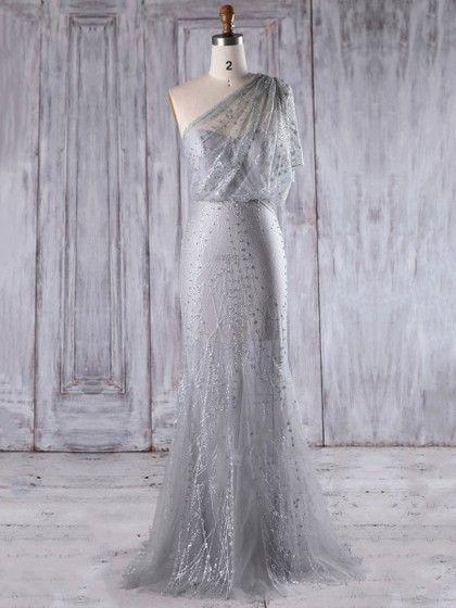 Tulle One Shoulder Floor-length Trumpet/Mermaid with Appliques Lace  Bridesmaid Dresses #PLS01013283