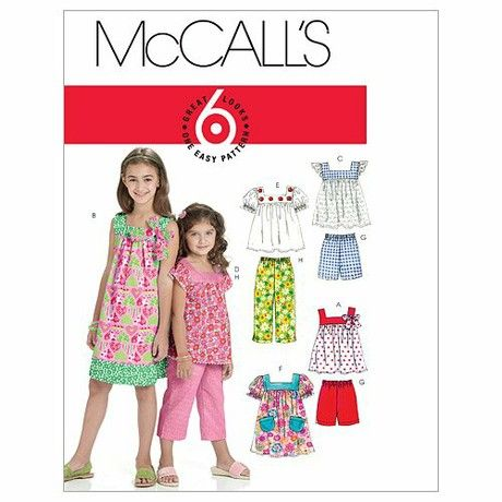 McCall's Patterns M6022 Size CCE 3-4-5-6 Children's/ Girls' Tops, Dresses, Shorts and Pants, Pack of 1, White