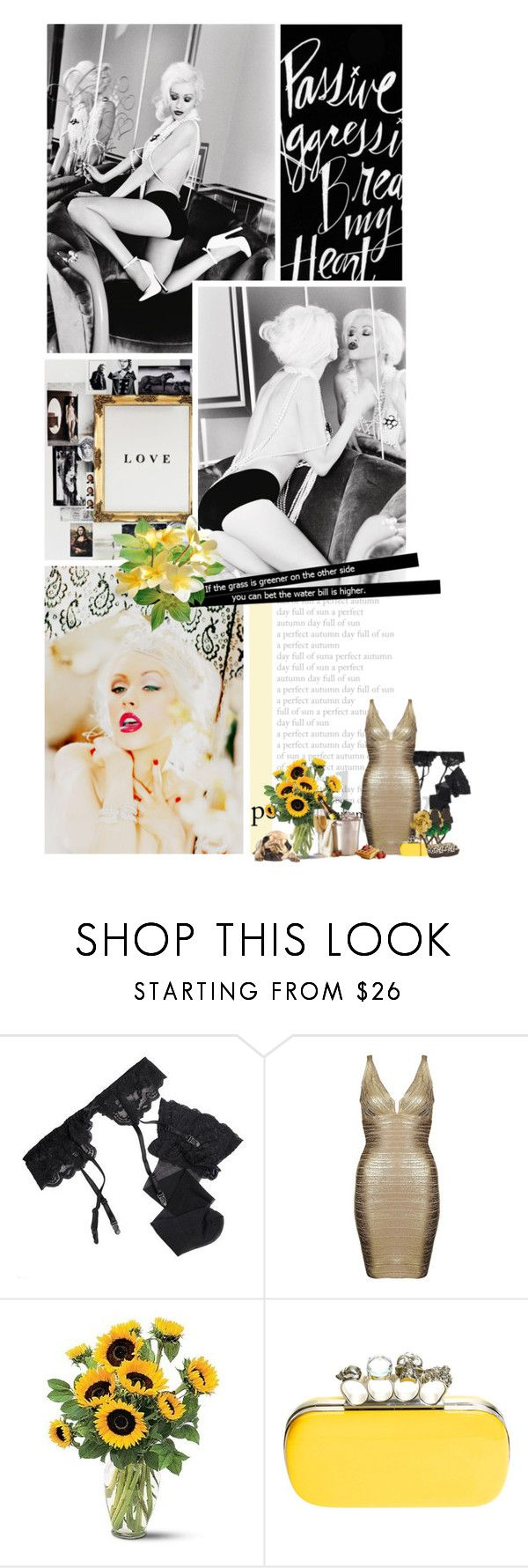 """""""Christina Aguilera"""" by mrsvalo ❤ liked on Polyvore featuring Reger by Janet Reger, Hervé Léger, Jimmy Choo, singer, herve leger, sexy, christina aguilera and gold dress"""