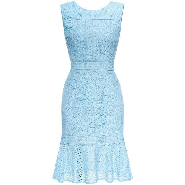 Sleeveless Ruffles Lace Dress (3.645 RUB) ❤ liked on Polyvore featuring dresses, ruffle dress, knee length lace dress, blue ruffle dress, knee length cocktail dresses and light blue dress