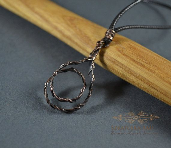 Twisted Male necklace Gift for him Metal pendant Copper