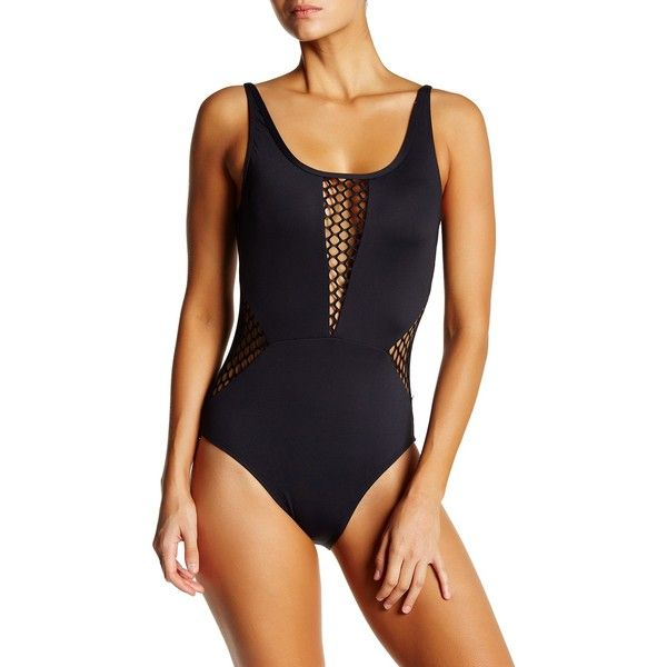 La Blanca Swimwear All Meshed One-Piece Suit ($53) ❤ liked on Polyvore featuring swimwear, one-piece swimsuits, black, 1 piece bathing suits, full coverage swimwear, mesh one piece swimsuit, open back one piece swimsuit and one piece swimsuit