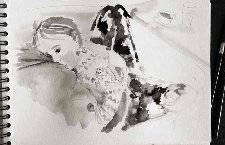 Watercolor sketch. Breastfeeding