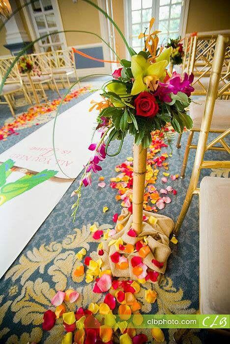 flower arrangement for church aisle