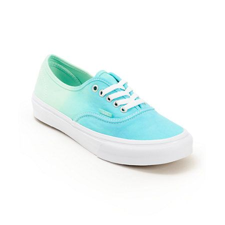 Keep your look timeless with a pop of color in the Vans Authentic Mint Ombre shoes for girls. The canvas upper is in a Mint and Turquoise ombre fade colorway and sits a top of a vulcanized outsole with the Vans classic waffle tread for superior grip, maki