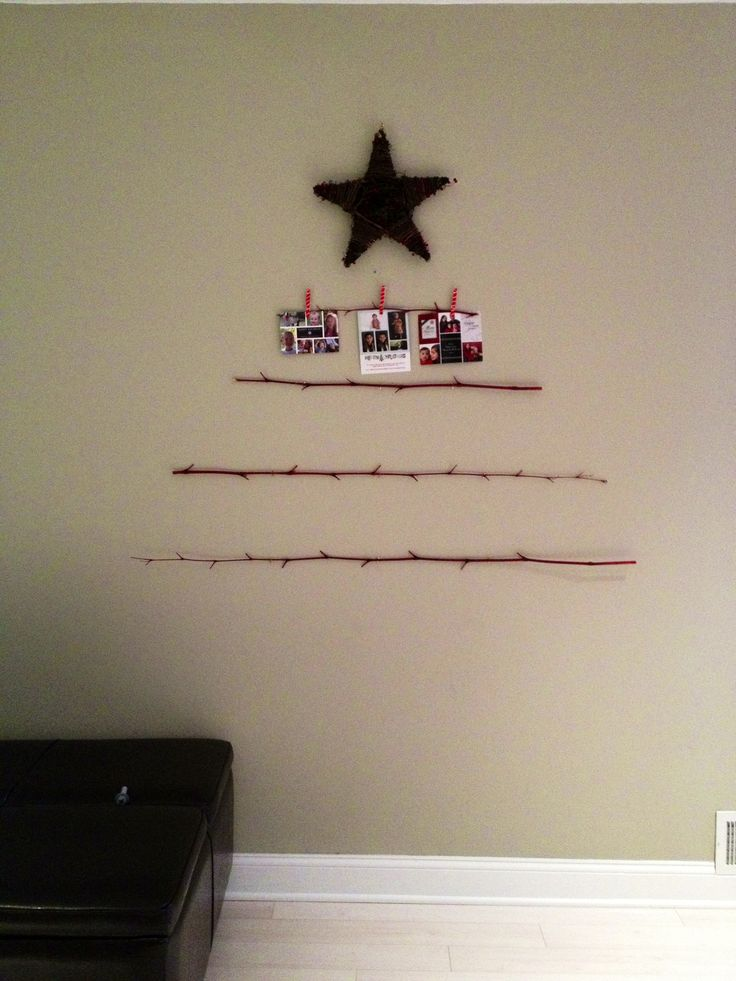 Christmas card display. Maybe tie with ribbons instead of clothespins.