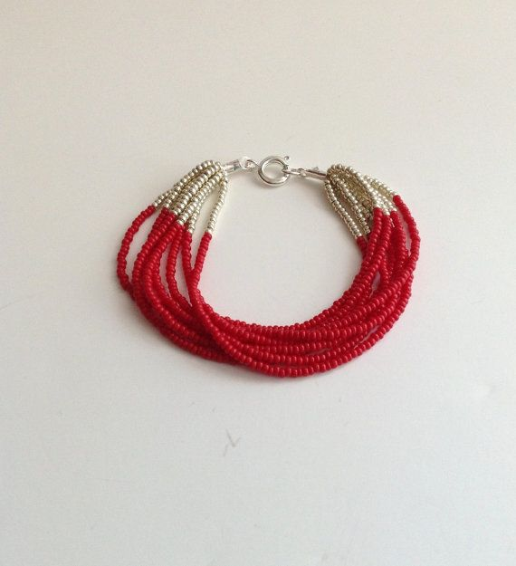 Red bracelet, silver and red bracelets, beaded bracelet, burgundy ,seed bead bracelet,christmas gift ideas,gifts for her,scarlet bracelet