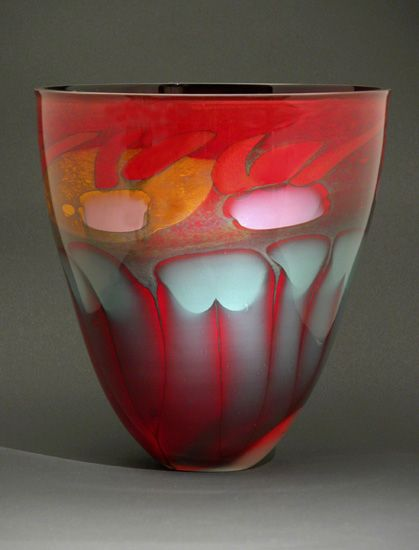 """Fire Series Bowl"" Art Glass Bowl Created by Steven Main"
