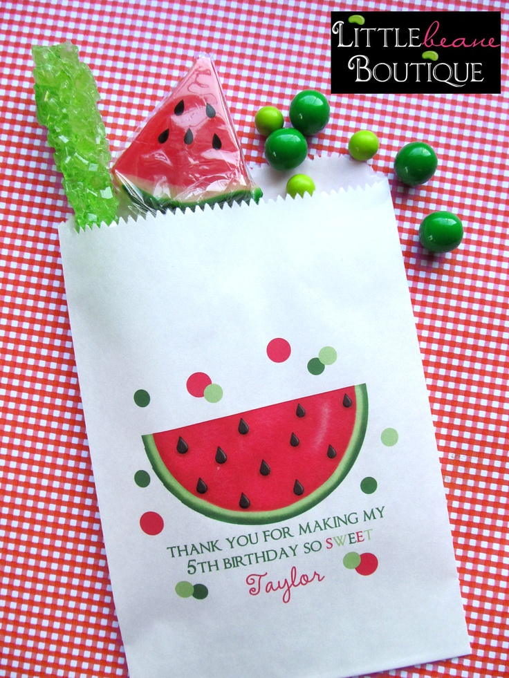 This is supposed to be for a b-day but I think its a cute summer baby shower idea. Watermelon Birthday Party Candy Bags Favor by LittlebeaneBoutique
