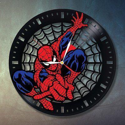 Spiderman Handmade Art Home Bedroom Decor Wall Clock Marvel Vinyl Record Wedding