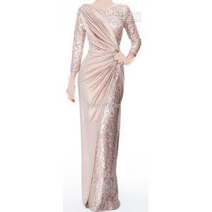 Sexy Long Sleeves Chiffon Jewel Lace Pearl Pink Ruffle Evening Dress $139.00