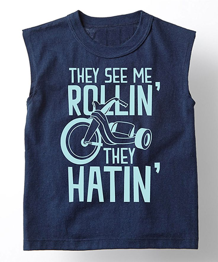 Look at this #zulilyfind! Navy 'They See Me Rollin'' Muscle Tee - Toddler & Boys by Board Life #zulilyfinds