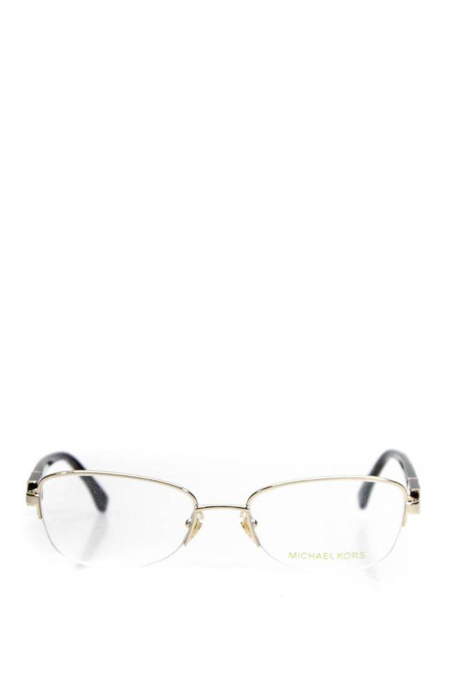 16a307aaad8 Michael Kors Womens Eyeglasses MK 340 717 Black Brown Gold Oval ...