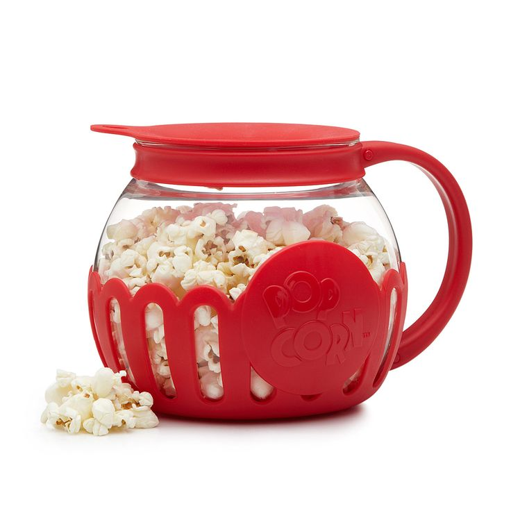 Microwave popcorn gets a healthy spin with this glass popper and butter melter.