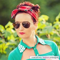 Fashion DIY Tutorial: Haar-Accessoire Wire Headbands (biegsames Draht-Haarband) selber machen - das fertige DIY-Projekt: biegsames Karo-Haar...