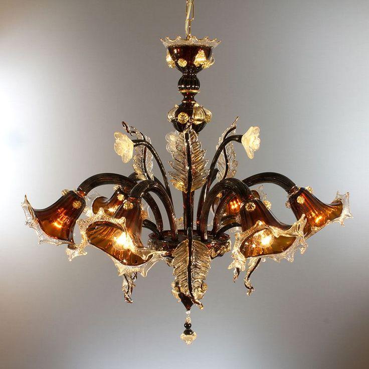 galileo-lampadari-murano-marrone-moka-trasparente-in-fuoco-decoro-cristallo-e-oro
