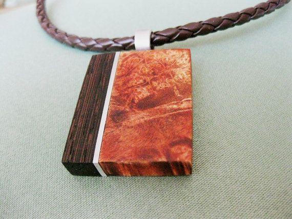 Exotic wood burl wenge wood and aluminum by NatureArtJewellery, $59.00