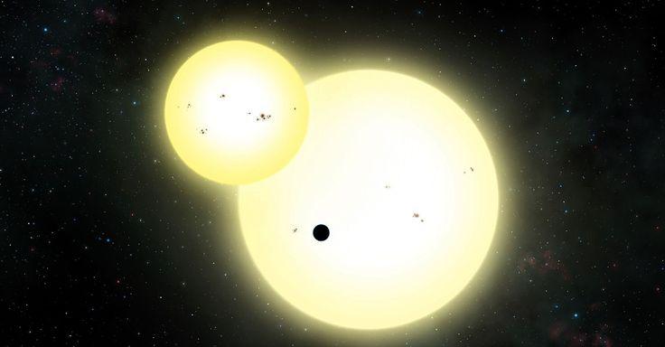 EXOPLANETA COM DOIS SÓIS - O maior exoplaneta (planeta fora do sistema solar) já descoberto gira em torno de duas estrelas, a uma distância que faz com que seja potencialmente habitável. Este exoplaneta gasoso do tamanho de Júpiter, batizado Kepler-1647b, também conta com a maior órbita para este tipo de planeta, girando em torno dessas duas estrelas em 1.107 dias, ou pouco mais que três anos terrestres