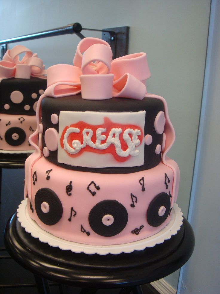 """Grease birthday cake - 10"""" bottom round, 8"""" top round, covered in fondant with fondant decorations"""
