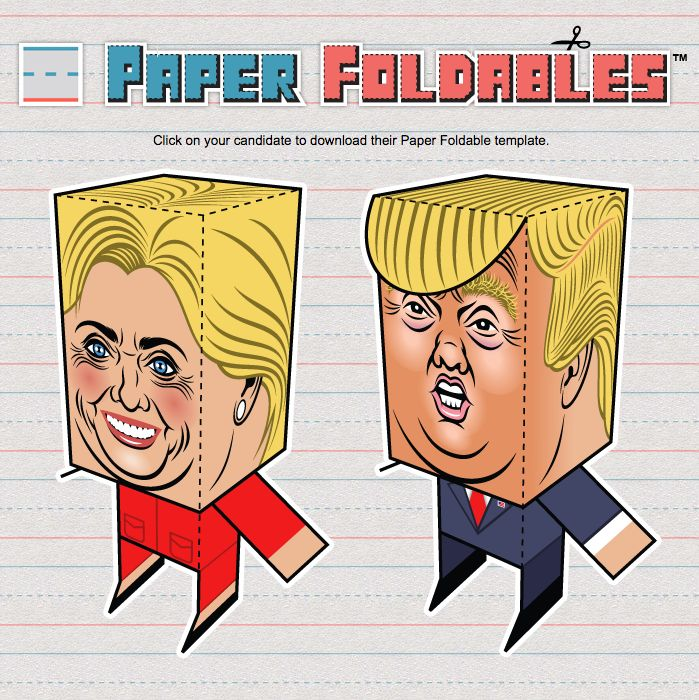 Donald Trump and Hillary Clinton Paper Foldables