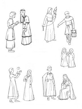 "LF1215 - Children of Medieval Times. 11th to 14th centuries. Multisized 27"" - 31"" Chest. All you need to make nobles' or peasants' sets of clothes for children over 3 years old, boys and girls."