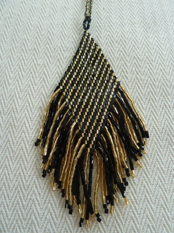 Bohemian Style Seed Beaded Fringe in Black & Gold Color by amezti