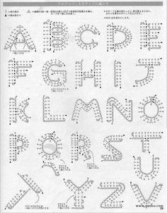 アルファベットの編み図 |わさび☆アイスクリーム                                                                                                                                                      もっと見る