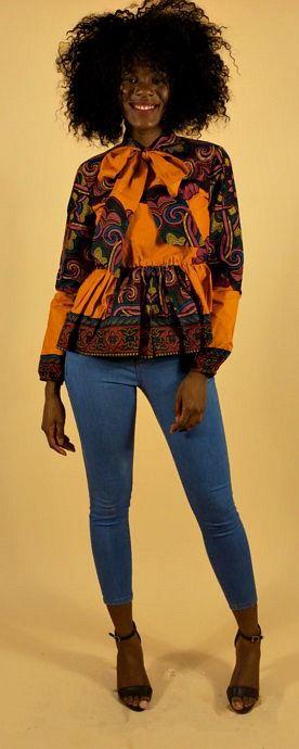 JOLA top. African print peplum blouse. -long sleeve with elastic. -back zip. -100% cotton. -made with high-quality African print wax fabric. Ankara | Dutch wax | Kente | Kitenge | Dashiki | African print bomber jacket | African fashion | Ankara bomber jacket | African prints | Nigerian style | Ghanaian fashion | Senegal fashion | Kenya fashion | Nigerian fashion | Ankara crop top (affiliate)