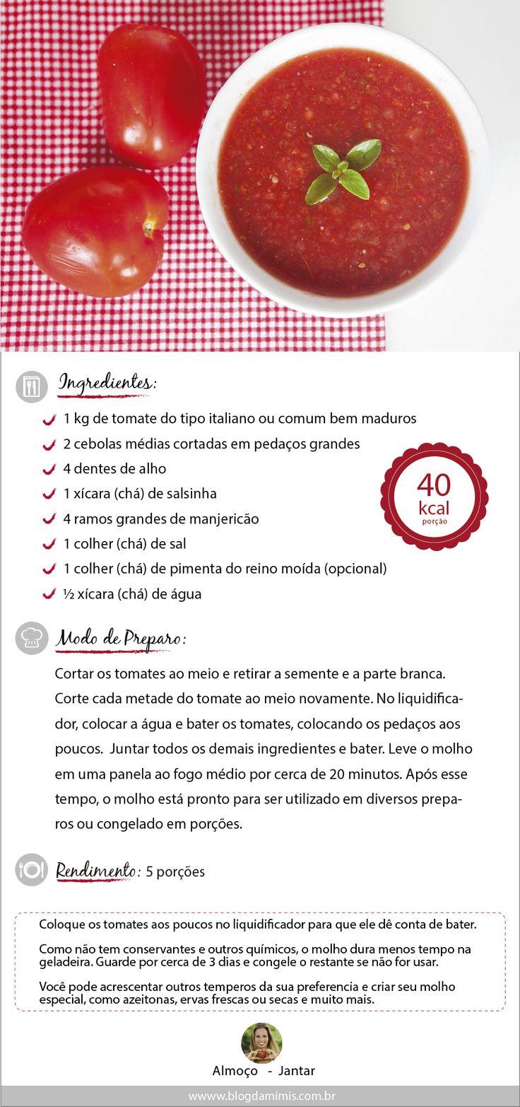 Receita de Molho de tomate  do Blog da Mimis - Super fácil e saudável para fazer em casa garante a qualidade e é econômico
