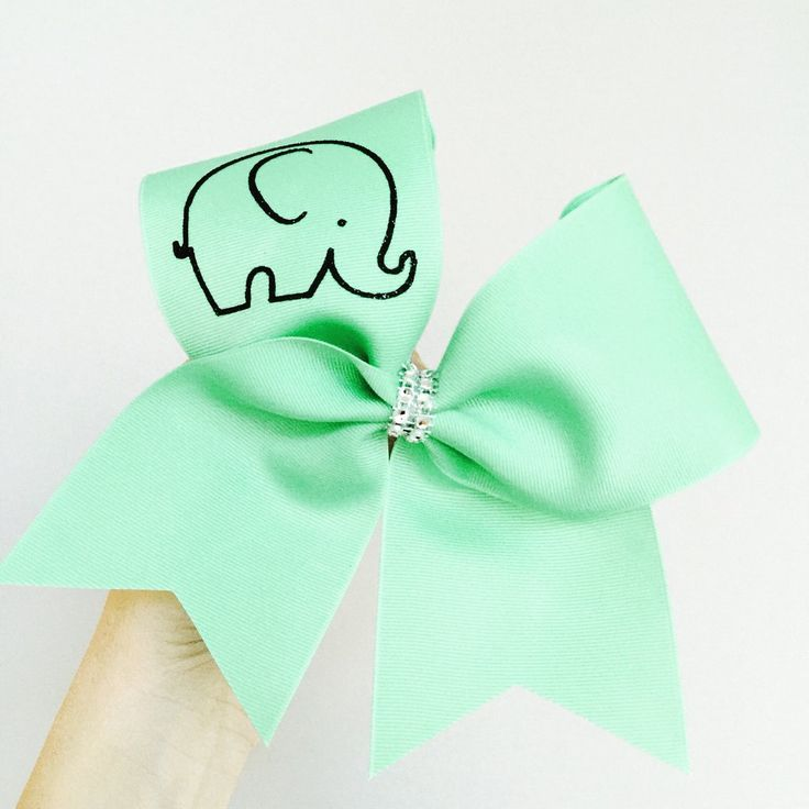 Baby Elephant Mint Green Cheer Bow! Ponytail holder attached! Free shipping!
