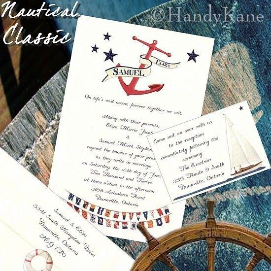 Qty 50 Nautical Wedding Invitations Classic Anchor Sailing & Reception Cards