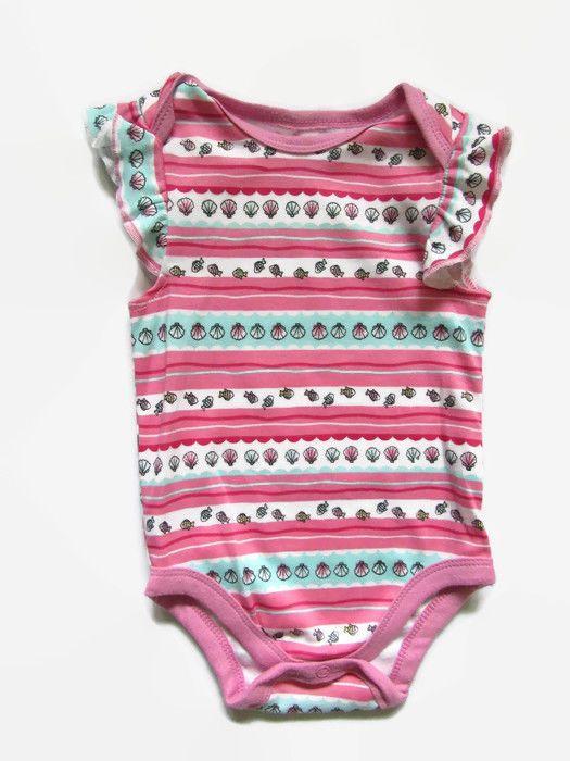 a4c47679b36 Girls Summer One Piece Bodysuit Romper Beach Themed Pink Mint Green Mini B  6 m  PINK  Everyday