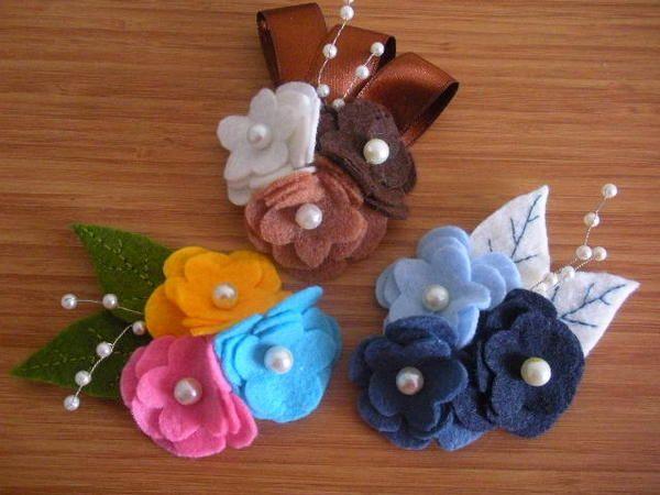 Çiçek Broş   idea for felt flower boutonnieres (photo only)