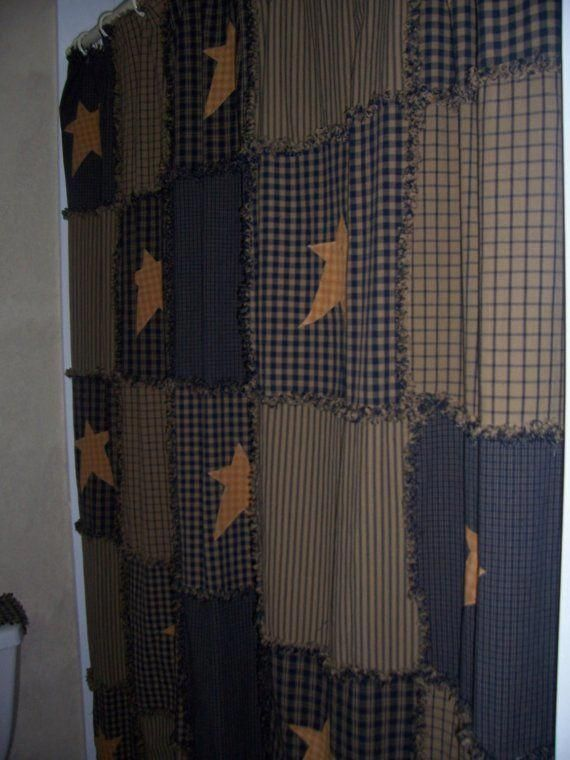 Primitive Raggy Shower Curtain Navy And Tan 72 50 Via Etsy
