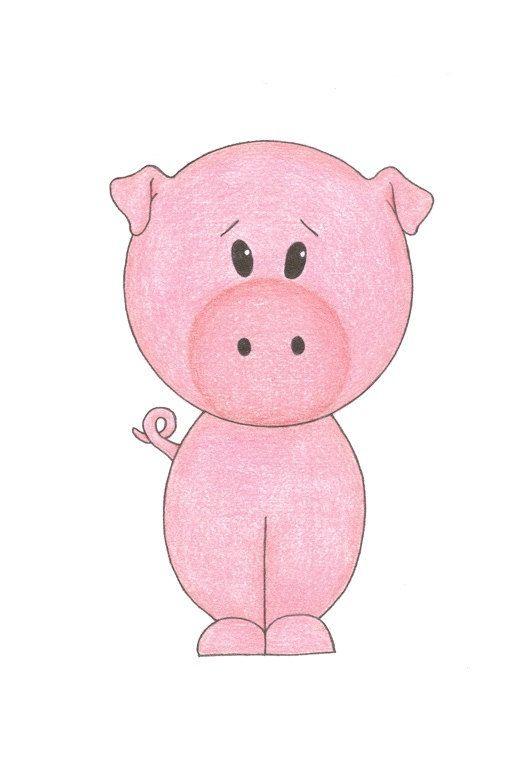 Nursery Art - Little Pig, 5x7 Matted Print. $9.00, via Etsy.