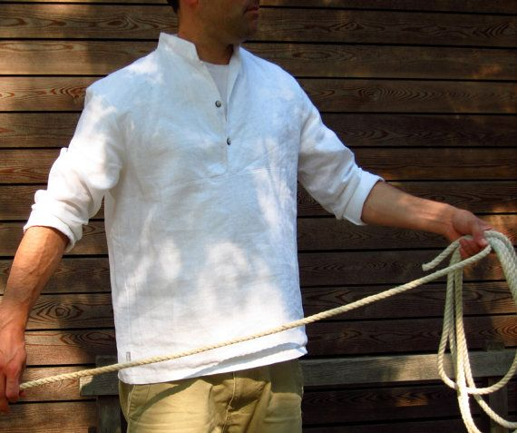 mens white linen shirt . maritime button up shirt. PERFECT for days on the Sea of Galilee .