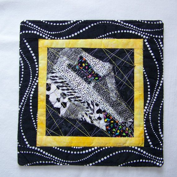 Scrappy Modern Black White and Yellow Mug Rug by Scrappyquilter, $6.00