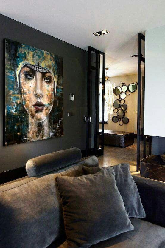 #hullan bea#artist   Zoe 120x120 oil, #contemporary#enterior#oilpainting