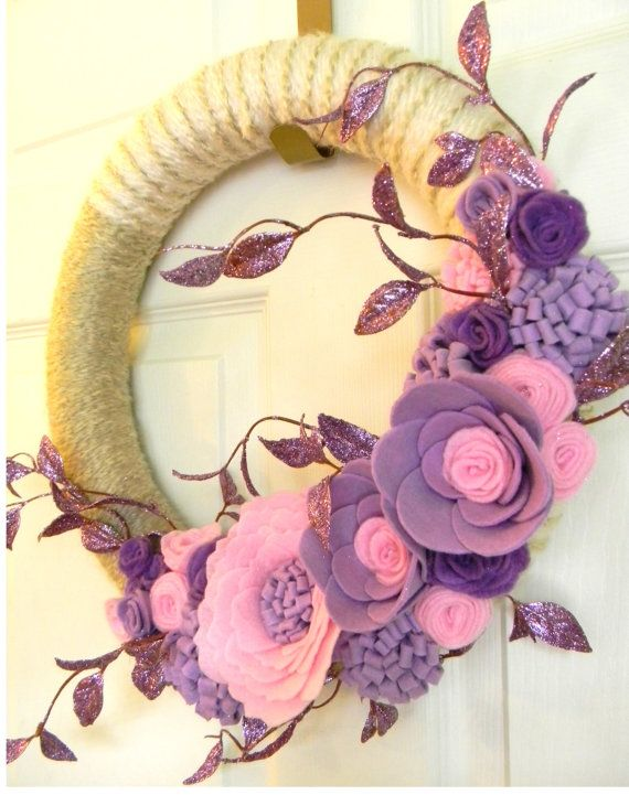 Lavender and Pink Sparkles 14 inch Felt and by EllaBellaMaeDesigns, $48.00