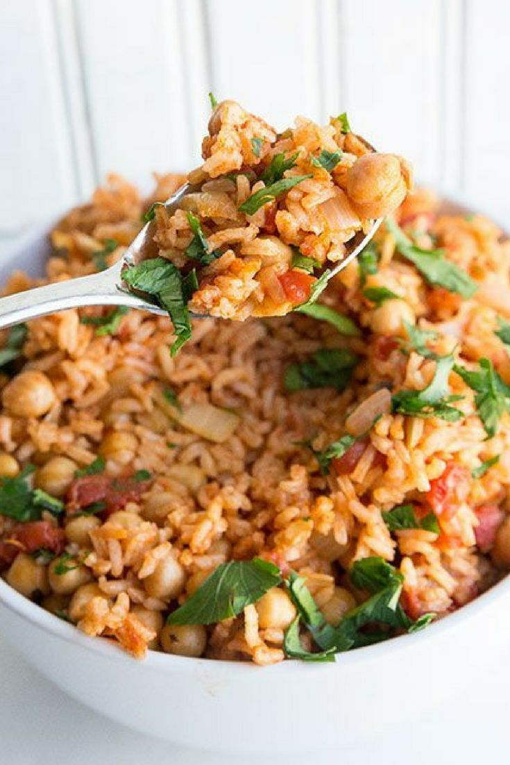 Vegan Smoky Spanish Chickpeas and Rice recipe. Perfect for lunch and supper!