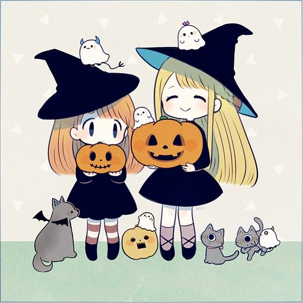 Halloween anime girls Ayu kawaii witch ghost devil pumpkin cats cute chibi cyclops trick or treat
