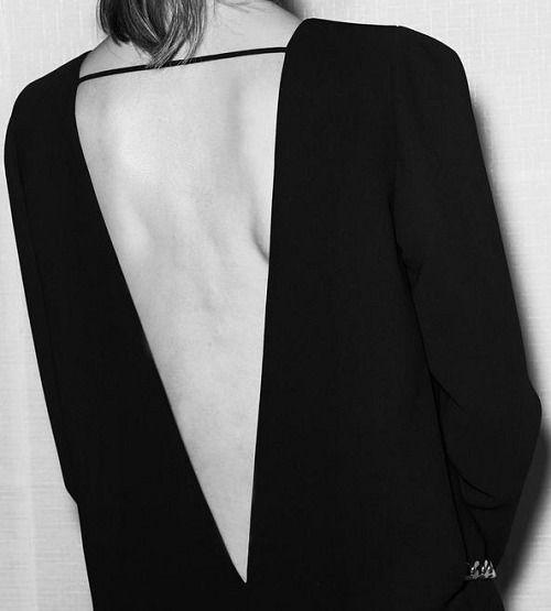 Black dress with sleek open back detail, chic minimal fashion  // Barbara Bui Pre-Fall 2015