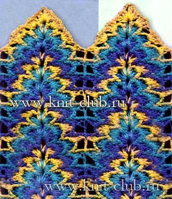 Openwork pattern crochet multicolor zigzag - chart
