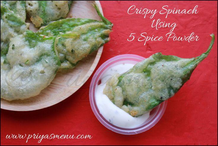 Priya's Menu - Yum Yum Yummy food for Food lovers !: Crispy Spinach  Using 5 Spice Powder