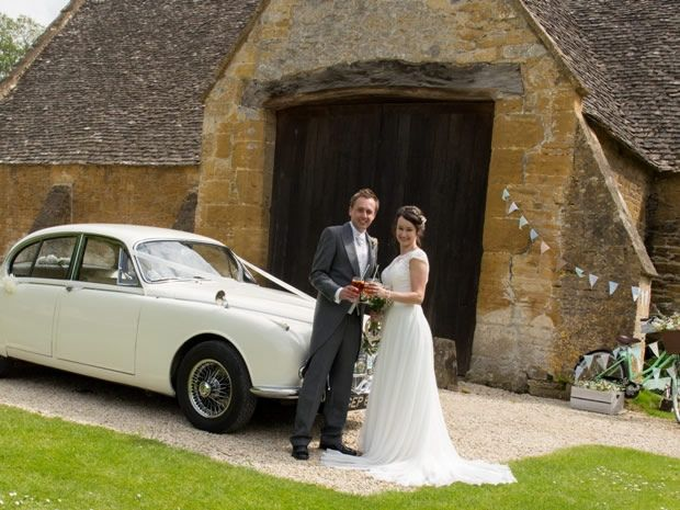 Arrive in style in a vintage 1968 Daimler. Image © Kelly Weech. #realweddings #Cotswolds #weddingtransport #vintage #rustic #weddingcars