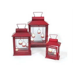 Red Christmas Indoor/Outdoor Tea Light Candle Lanterns