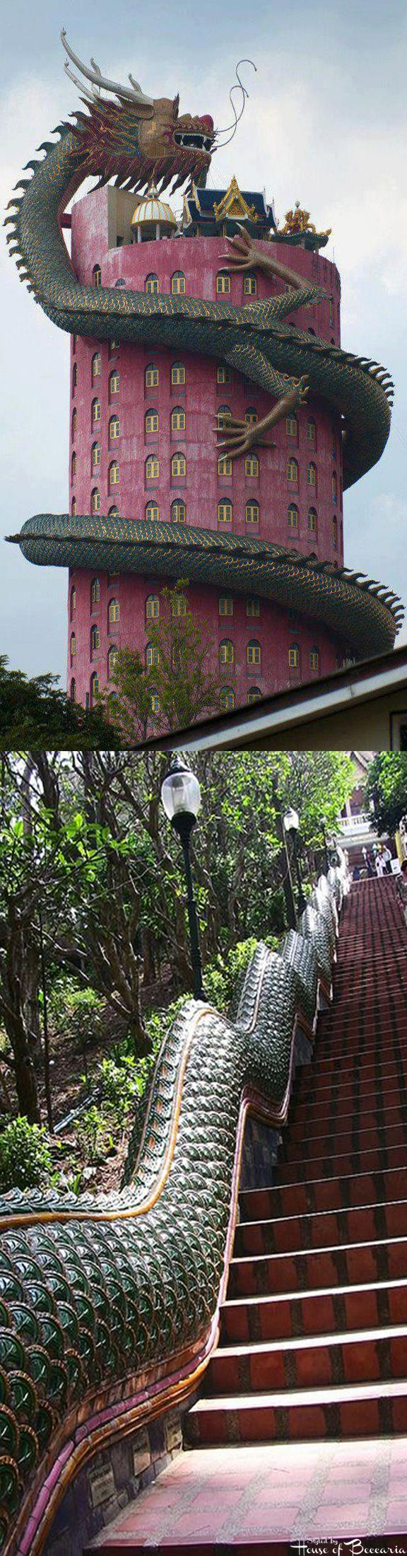 ~Thailand, Chiang Mai, Wat Phra That Doi Suthep, Nagatreppe hinauf zum Tempel   House of Beccaria
