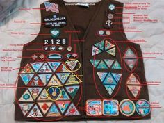 Brownie vest with ALL the badges and official insignia.