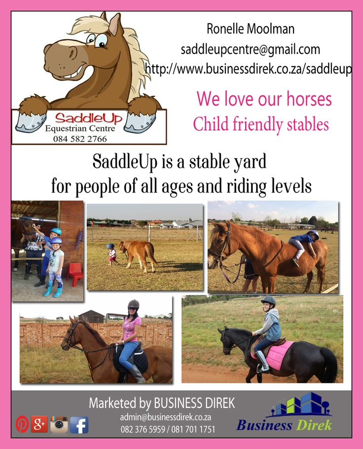 #horses #saddleup #stable #children #grootfontein #pretoria SaddleUp Stables Contact Ronelle Moolman on 084 582 2766 Riding lessons for the young and old http://www.businessdirek.co.za/saddleup