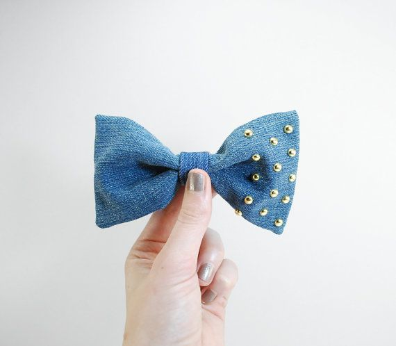 Denim hair bow  Denim bow with studs  hipster hair by Fitzberries, $9.50